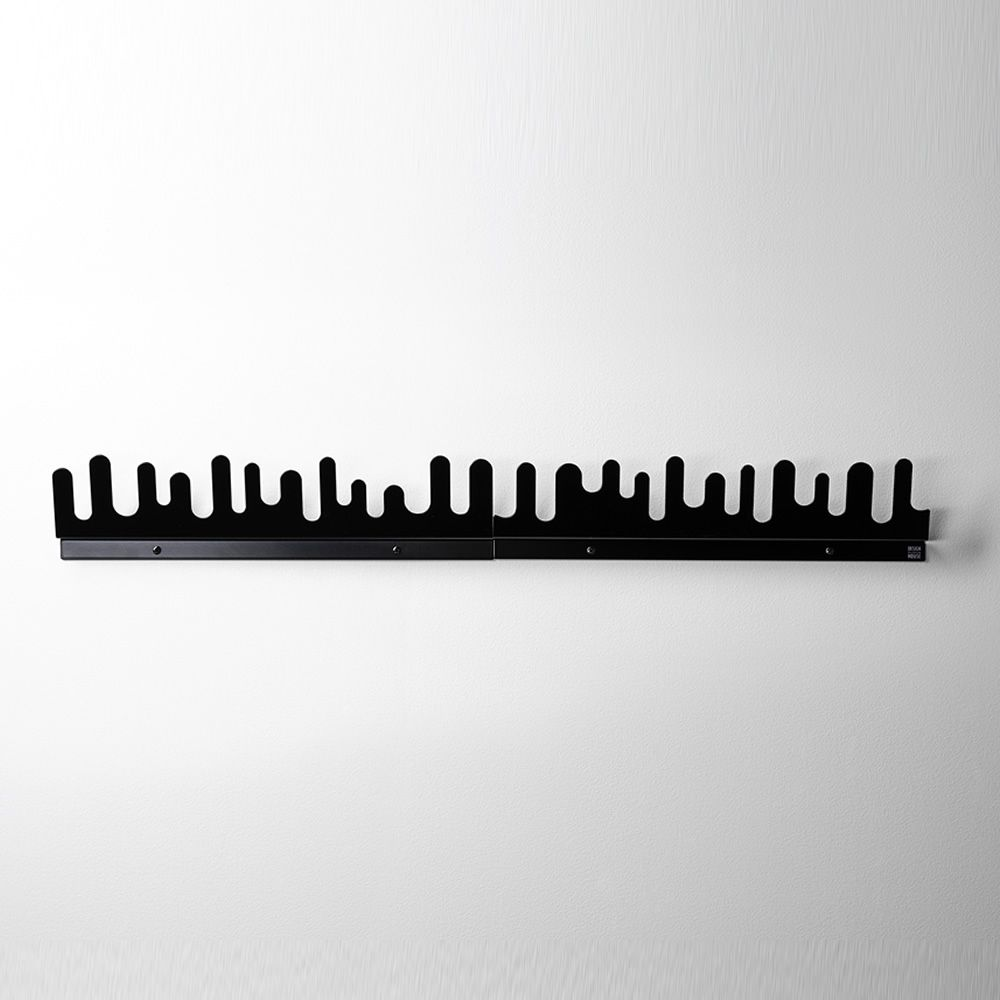 Wall coat rack made of black lacquered metal