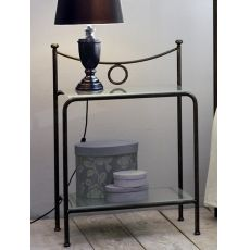 Gabbiano D - Iron bedside table with glass tops, available in several colours