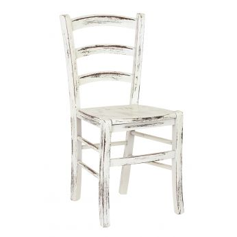 110 Scratch - Chair in wood, white lacquered finish scratched