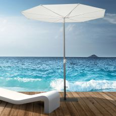 OMB52 - Design parasol with central pole in aluminium, round, with opening system from the bottom