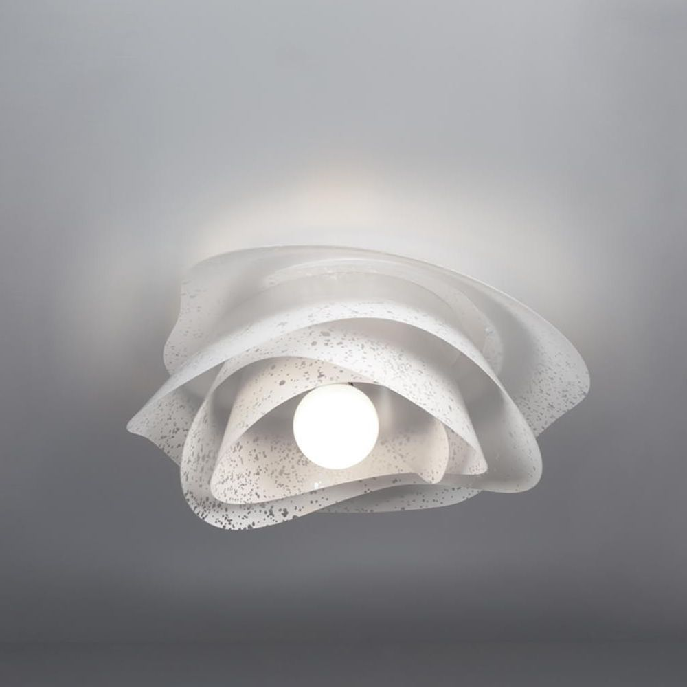 Ceiling lamp with anti-reflective polycarbonate lampshade, white colour