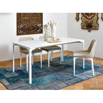 Armando-A - Extendable metal table with melamine or metal top, white version