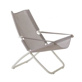 Snooze - White varnished metal beach chair, net in ice colour