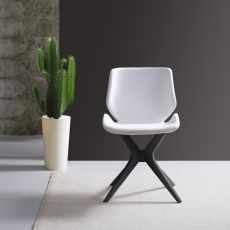 Meg-Ma - Modern wooden chair, padded seat available with several coverings