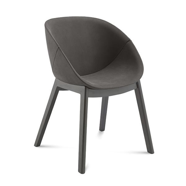 Chair made of varnished ash wood in anthracite colour, with Nobuko imitation leather covering in charcoal grey colour