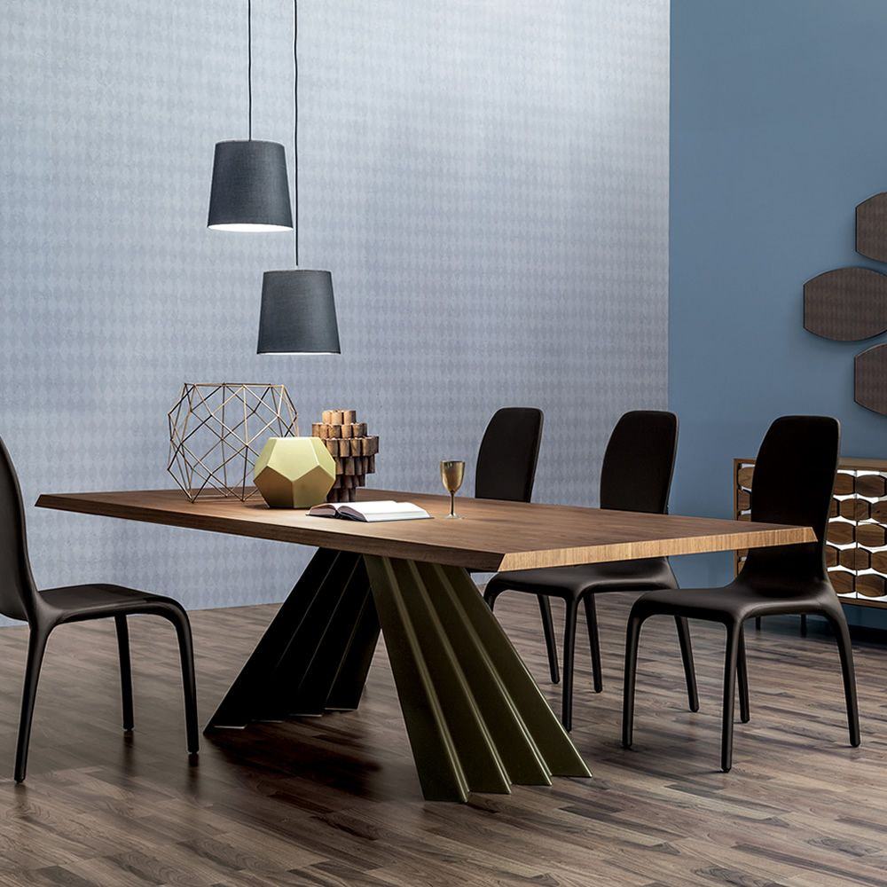 Fixed table made of stone bronze lacquered metal with wooden top, Canaletto walnut finish
