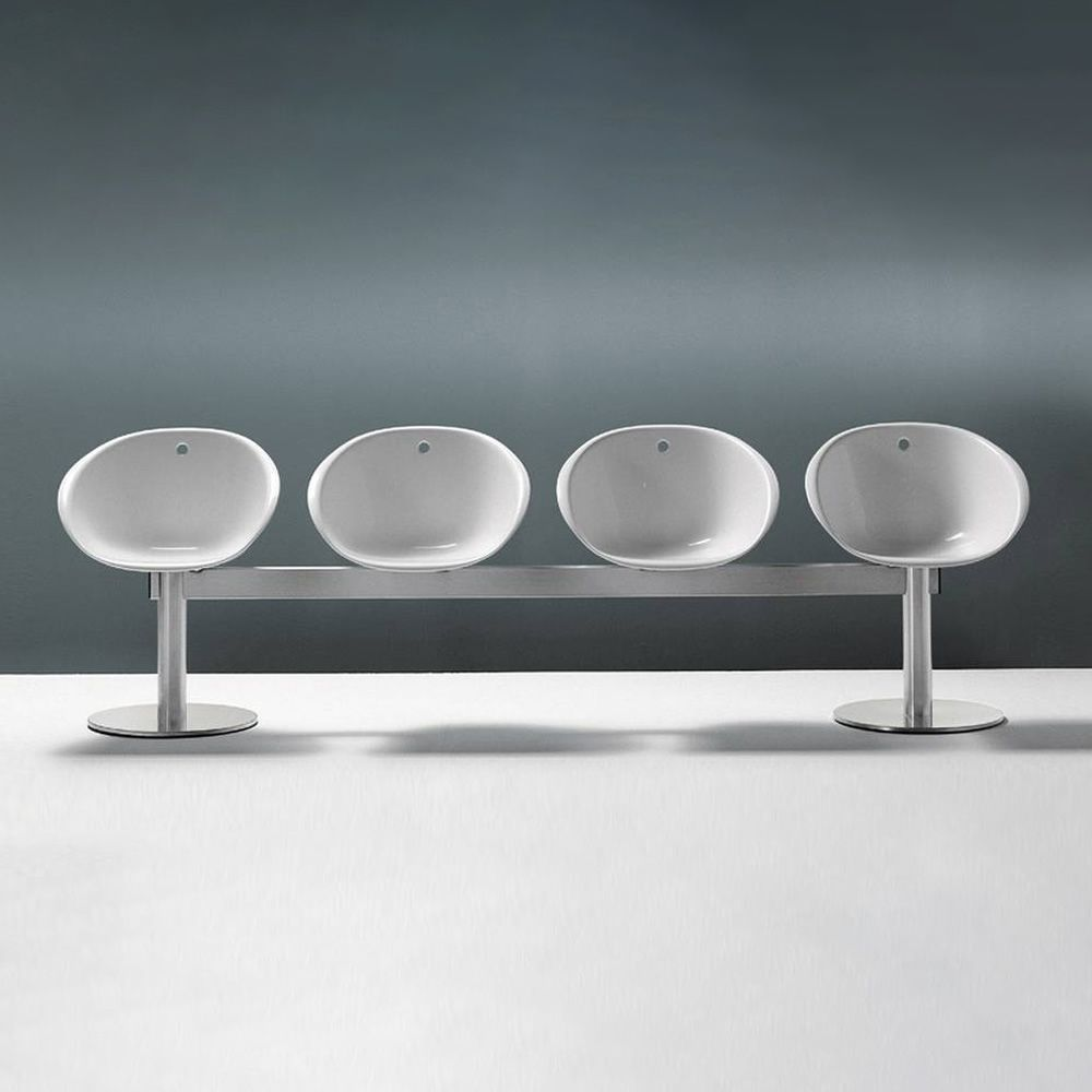 Waitingroom bench with four chairs, colour white