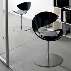 Twist GO - Midj swivel metal chair, with Hirek or padded seat, different upholsteries available