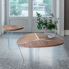 Aida 6037 - Tonin Casa coffee table made of glass with wooden, several sizes available
