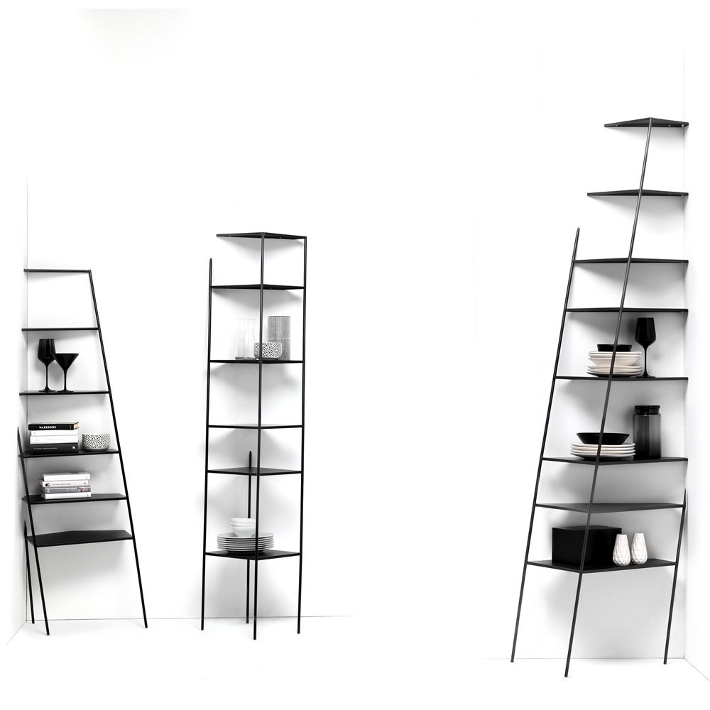 Wall metal shelf laquered in black colour (Size: S, M, L)