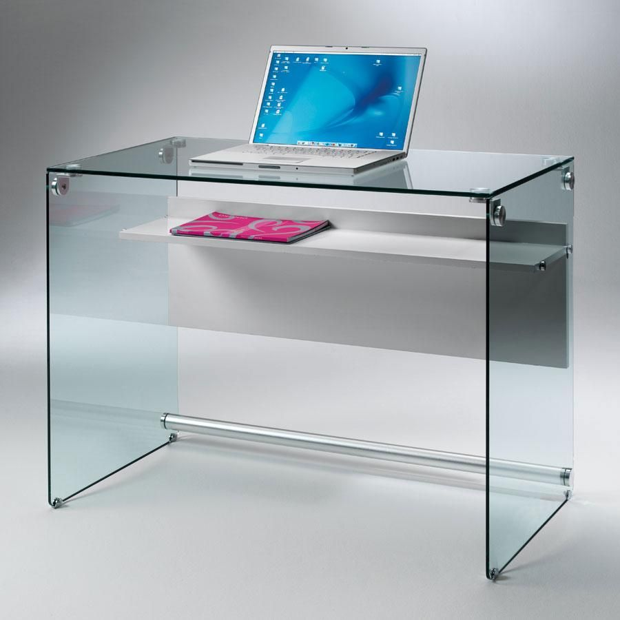 Writing desk with mat white laminated top
