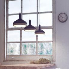 Plera - Pendant lamp made of ceramic and wood, several colours available