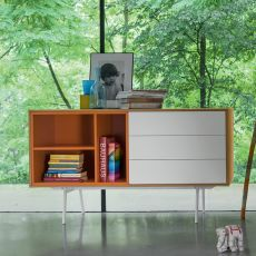 Code-1 - Dall'Agnese sideboard made of metal and veneered wood, different colours available, three drawers and an open compartment