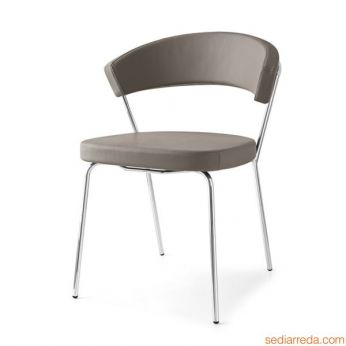 CB1084 New York - Metal chair with imitation leather covering, dove-grey colour