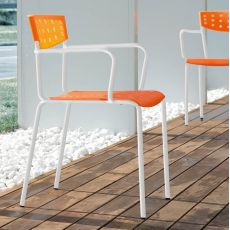 Smile-P - Midj stackable chair made of metal and polypropylene, with armrest, also for garden
