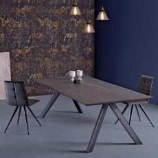 Fox - Modern wooden table, wooden top available in several sizes