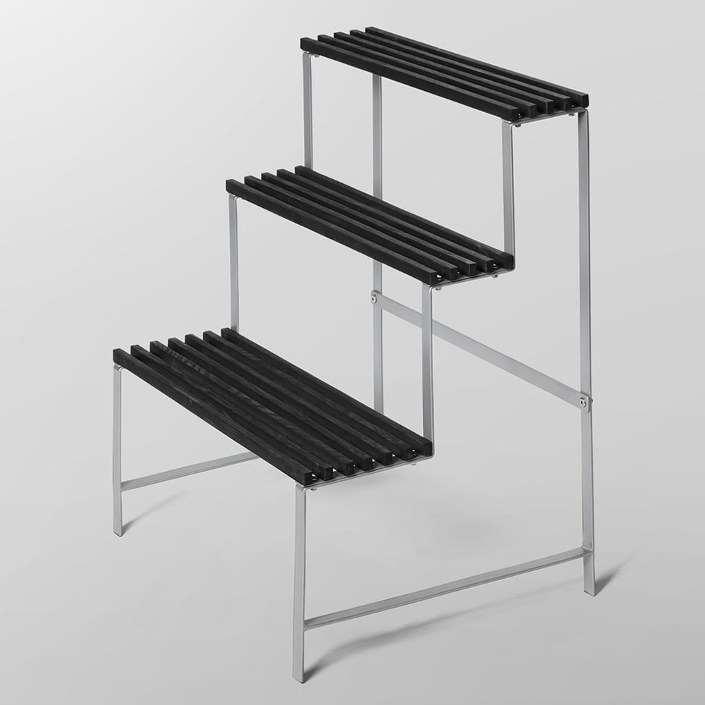 Shelving unit for objects / Flower pot stand made of metal, shelves in ash wood with anthracite grey finish