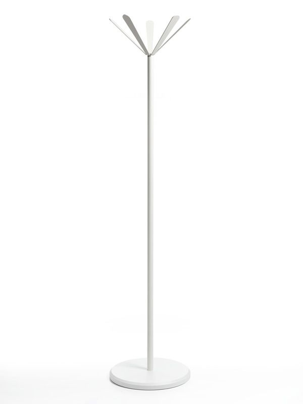 Coat hanger made of white varnished metal with white lacquered MDF base