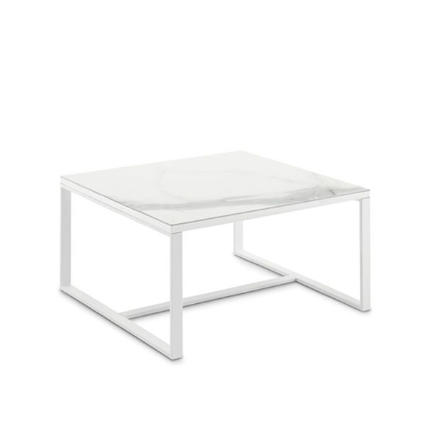 Square coffee table made of white laquered metal with ceramic top in marble white colour