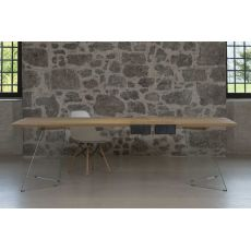 Leonardo - Fixed table with glass structure, 260x100 cm wooden top, with two burnished iron drawers