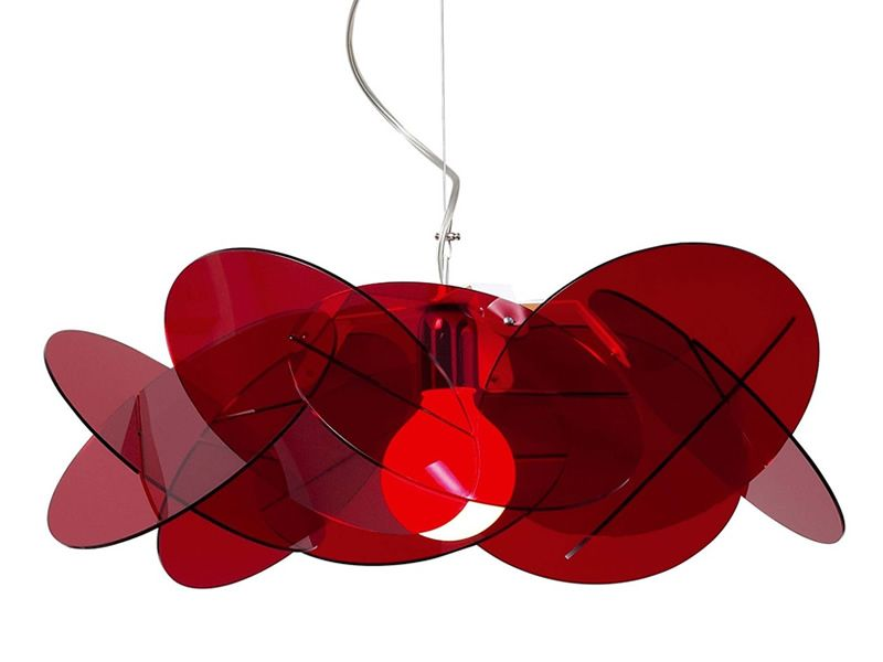 Suspension modern lamp with metacrylate lampshade, red colour