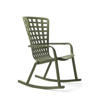 Folio rocking - Nardi rocking chair with reclining backrest, in polypropylene, agave colour