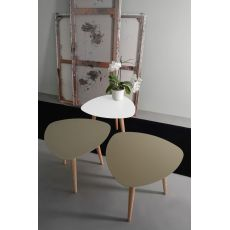 Nord1 Promo - Small triangular wooden design table, with laquared metal top