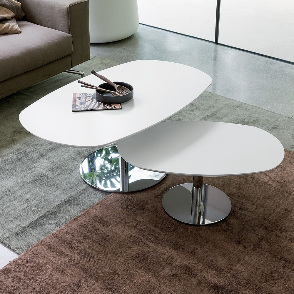 Coffee table made of chromed metal with oval top in lacquered veneered wood in matt white colour, in two different sizes