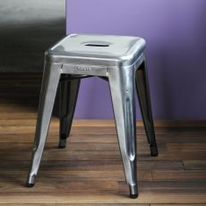 H5 - Design stool in varnished metal, stackable, seat heigh 45 or 50 cm