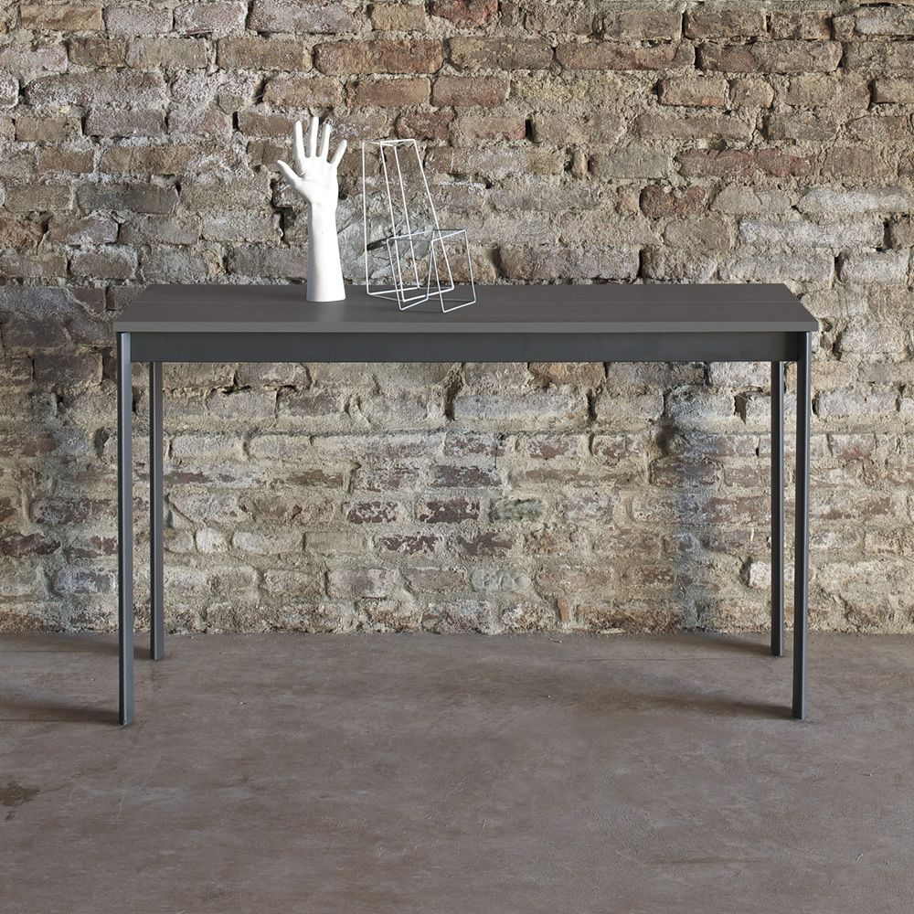 Extendible console with lacquered steel and laminate top, in anthracite grey colour