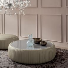 Plissè coffee table 7336 - Tonin Casa round coffee table in imitation leather, with glass top