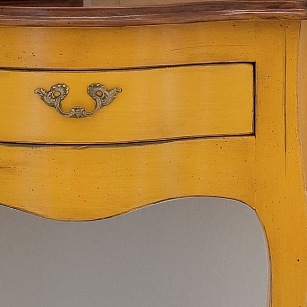Detail: classic console made of honey yellow lacquered old-looking wood, with old-looking dark walnut top (Two-coloured version)
