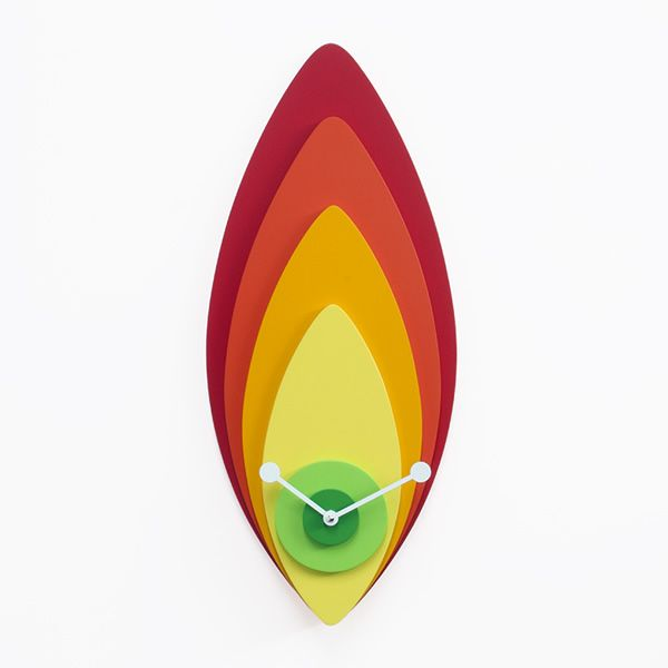 Wall clock in wood, colours: red, orange, yellow and green