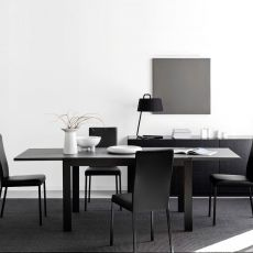 CB4704-V 130 New Smart - Connubia - Calligaris extendable wooden table with top in glass or ceramic, 130 x 90 cm