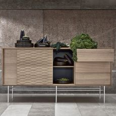 Case - Sideboard in wood and metal, with sliding doors, shelves and drawers
