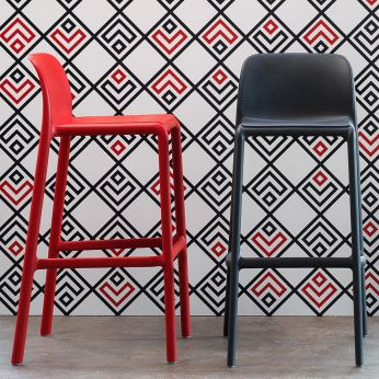Faro - Stackable stools in red, anthracite grey colour