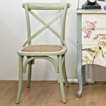 Malva - Shabby chic chairs in wood, in green colour
