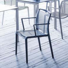 Avenica - Stackable chair with armrests, in bi-material technopolymer, also for outdoor