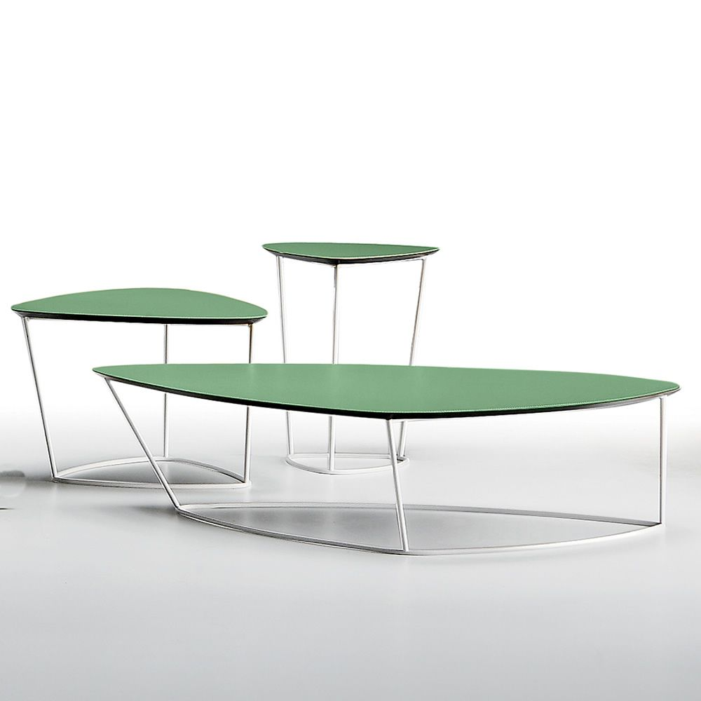 Design side table made of metal with natural hide top in sage green colour, different sizes available