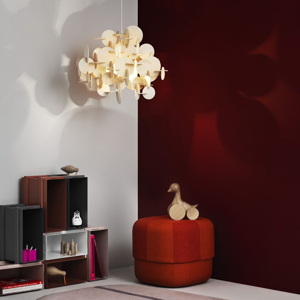Pendant lamp made of wood, single colour version (natural finish)