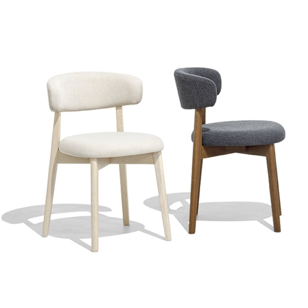 Connubia chair with structure in bleached beechwood with Cros sand upholstery and in walnut-stained beechwood with Cros black upholstery