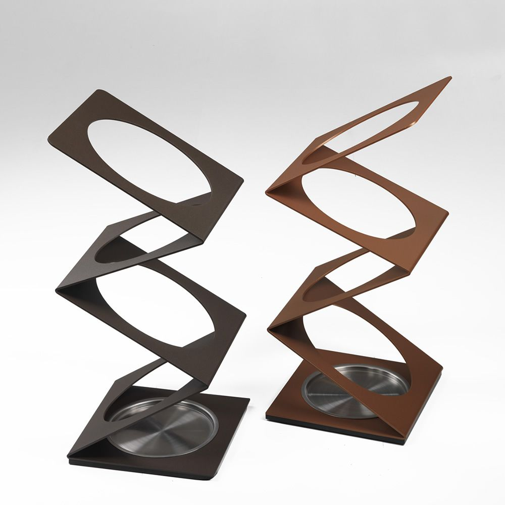 Chocolate or copper colour varnished steel umbrella stands