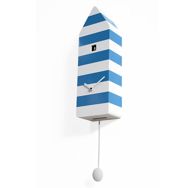 Cuckoo clock in wood, white and blue colour