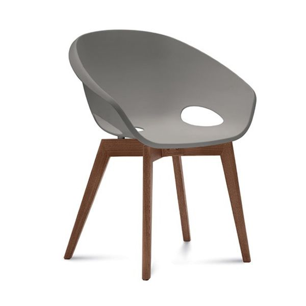 Chair made of ash wood, canaletto walnut finish, with polypropylene seat in sand colour