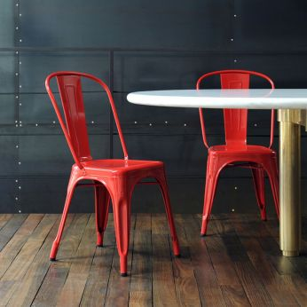 A Chair - Metal chair in red varnished