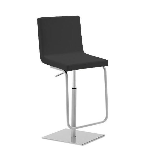 Swivel and adjustable stools made of metal, seat covered with black imitation leather