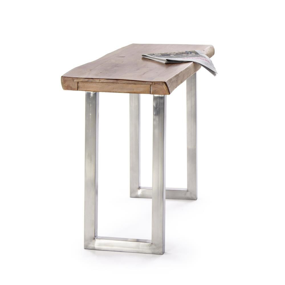 Stainless steel console, with acacia wood top