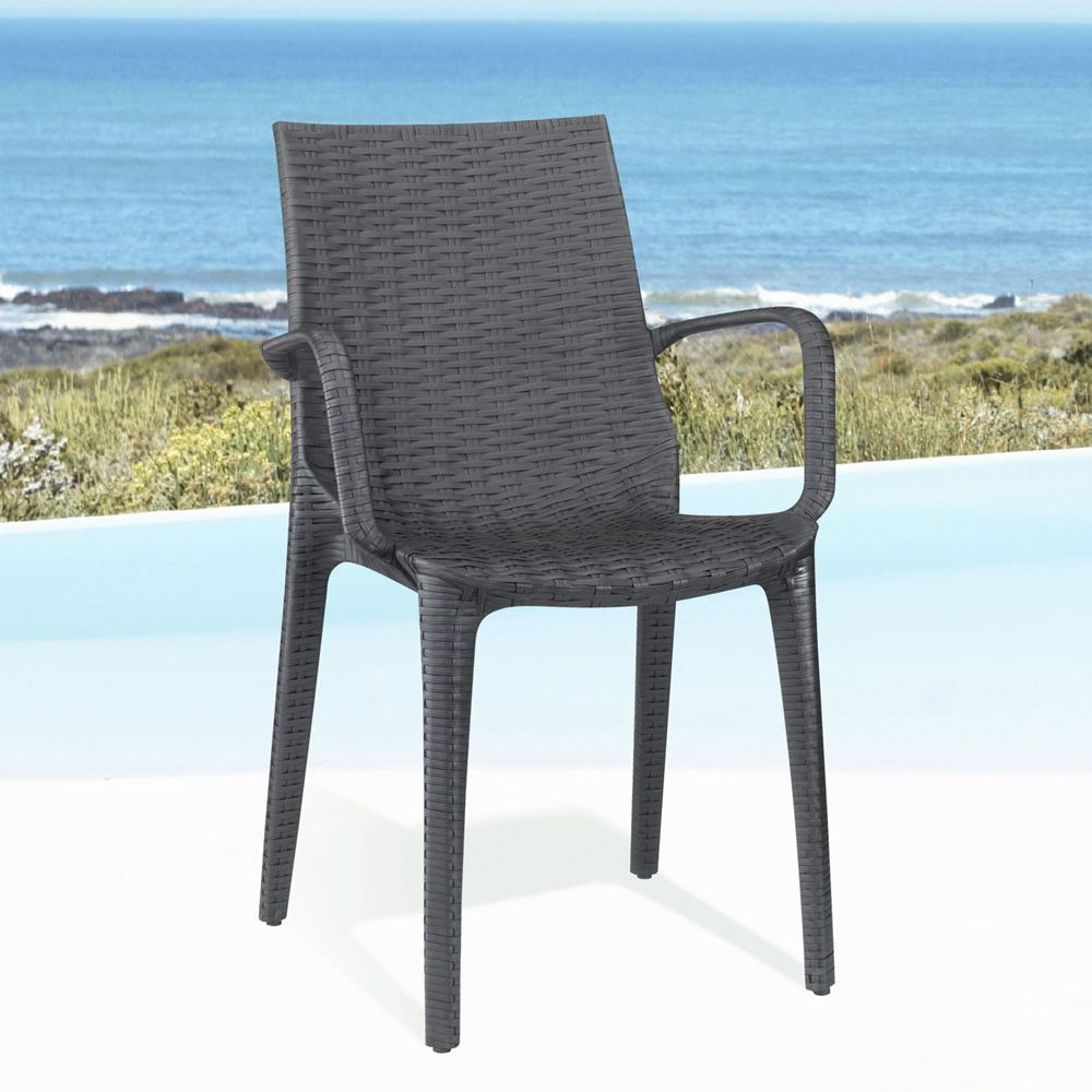 Modern armchair, in anthracite grey colour