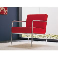 Billy 1 - Midj metal armchair, leather, fabric or imitation leather covering