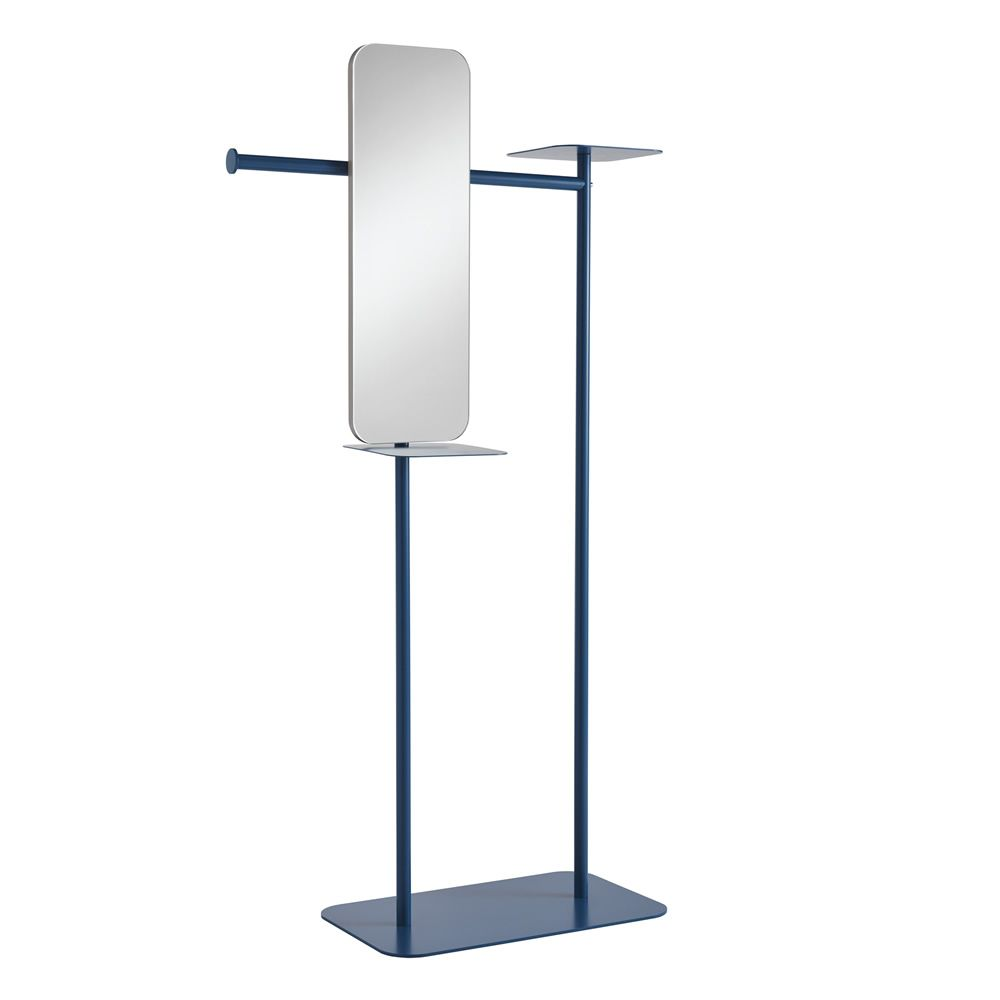Varnished metal valet stand, with mirror, S model